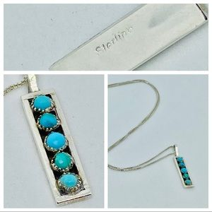 Sterling Silver Necklace Pendant Turquoise 16""